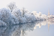 White River Scene Posters - English Winter Scene Poster by Andrew  Michael