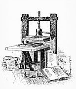 Printing Prints - Engraving Of A Press Similar To Gutenbergs Print by
