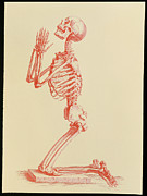 Praying Posters - Engraving Of Praying Male Skeleton By Cheselden Poster by Mehau Kulyk