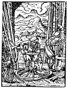 Manual Prints - Engraving Of Wheel Manufacture In The 16th Century Print by