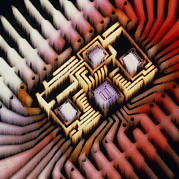 Hybrid Framed Prints - Enhanced Macrophoto Of A Hybrid Integrated Circuit Framed Print by Pasieka