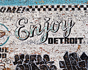 Alanna Pfeffer Framed Prints - Enjoy Detroit Graffiti Framed Print by Alanna Pfeffer