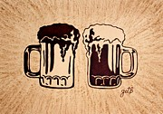 Glass Paintings - Enjoying Beer by Georgeta  Blanaru