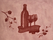 Wine Bottle Paintings - Enjoying Red Wine  painting with red wine by Georgeta  Blanaru