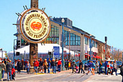 Crowd Scene Metal Prints - Enjoying The Day At Fishermans Wharf San Francisco California . 7D14220 Metal Print by Wingsdomain Art and Photography