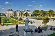 Luxembourg Gardens Prints - Enjoying the Luxembourg Gardens Print by Michael Biggs