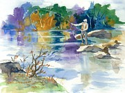 Fly Fisherman Paintings - Enjoying the Quiet by Cindy Spencer