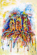 South Africa Painting Prints - Enjoying the Sun Print by Zaira Dzhaubaeva
