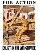 Wpa Framed Prints - Enlist In The Air Service Framed Print by War Is Hell Store