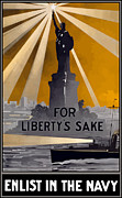Statue Of Liberty Metal Prints - Enlist In The Navy Metal Print by War Is Hell Store