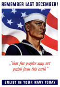 American Flag Digital Art Prints - Enlist In Your Navy Today Print by War Is Hell Store