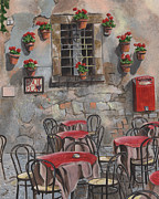 Red Cafe Posters - Enot Eca Poster by Debbie DeWitt