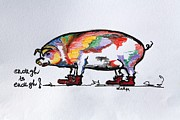 Pig Drawings - Enough Is Enough by Sladjana Endt