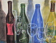 Wine Bottles Pastels - Ensemble by Gitta Brewster