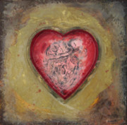 Encaustic Framed Prints - Enshrine - Inward Heart Framed Print by Janelle Schneider