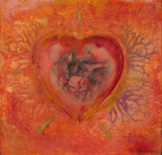 Encaustic Framed Prints - Enshrine - Outward Heart Framed Print by Janelle Schneider
