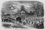 Night Scenes Framed Prints - Enslaved African-americans Running Framed Print by Everett