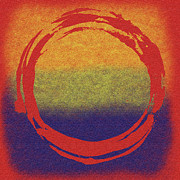 Red Yellow Blue Prints - Enso 7 Print by Julie Niemela