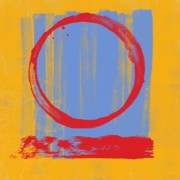 Red Abstract Posters - Enso Poster by Julie Niemela