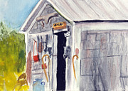 Shed Painting Prints - Enter at Own Risk Print by Donna Walsh