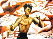 Bruce Lee Painting Originals - Enter the Dragon by Adrian Villegas
