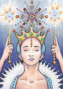 Meditation Drawings Acrylic Prints - Enter The Frost Queen Acrylic Print by Amy S Turner