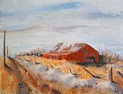 Old Barns Paintings - Entering Choteau County by Bryan Alexander