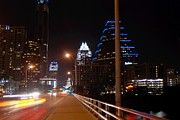 Austin Skyline Digital Art - Entering Downtown Austin at Night by Jennifer Holcombe