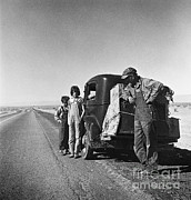 The Great Depression Art - Entering The California Desert by Photo Researchers