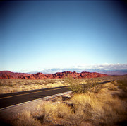 Yellow Line Photo Prints - Entering The Valley Of Fire Print by Lori Andrews