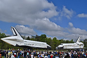 Space Shuttle Enterprise Framed Prints - Enterprise And Discovery Framed Print by Lawrence Ott