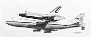 Enterprise Metal Prints - Enterprise Shuttle NYC -Black and White  Metal Print by Regina Geoghan