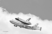 Enterprise Photo Framed Prints - Enterprise Shuttle Over NY Framed Print by Regina Geoghan