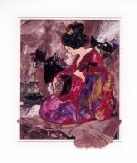 Entertainer A Collage Of An Oriental Woman Playing A Lute Print by Phil Albone