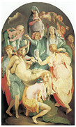 Jesus Art Painting Framed Prints - Entombment Framed Print by Jacopo Da Pontormo