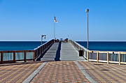 Susan Leggett Prints - Entrance to a Fishing Pier Print by Susan Leggett