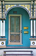 Framed Old Town Door Print Posters - Entrance to Blue-Green House Poster by Steven Ainsworth