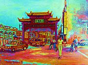 Crowds Painting Originals - Entrance To Chinatown by Carole Spandau