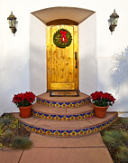 Front Steps Prints - Entrance to Home with Holiday Decorations Print by David Buffington
