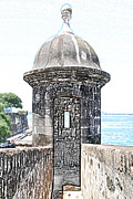 Puerto Rico Digital Art Prints - Entrance to Sentry Tower Castillo San Felipe Del Morro Fortress San Juan Puerto Rico Colored Pencil Print by Shawn OBrien