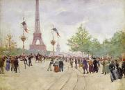 Crowd Scene Paintings - Entrance to the Exposition Universelle by Jean Beraud
