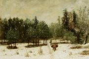 Horse And Cart Paintings - Entrance to the Forest in Winter by Cherubino Pata