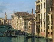 Gondolier Painting Prints - Entrance to the Grand Canal Looking West Print by Canaletto