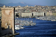 Docked Boats Prints - Entrance to the Old Port of Marseille Print by Sami Sarkis