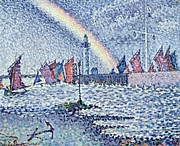 Pointillist Framed Prints - Entrance to the Port of Honfleur Framed Print by Paul Signac