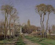 Country Houses Framed Prints - Entrance to the Village of Voisins Framed Print by Camille Pissarro