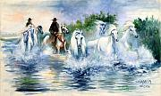 Running Horses Paintings - Entre ciel et eau by Josette SPIAGGIA