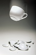 Reversible Framed Prints - Entropy Shown By Broken Cup Framed Print by Victor De Schwanberg