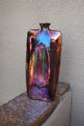 Raku Art - Envelope Vase by John Johnson