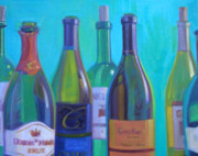 Wine-bottle Paintings - Envy II by Penelope Moore